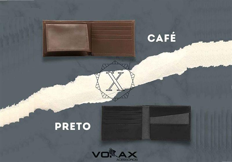 Imagens em destaque de duas carteiras, uma na cor marrom e uma café