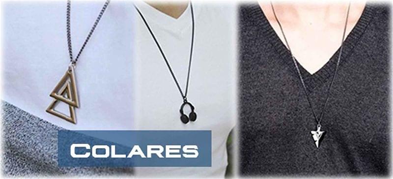 3 imagens de destaque, de homens usando colares