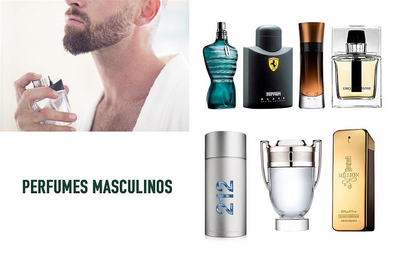 Imagem de um homem passando perfume, e opções de perfumes masculinos