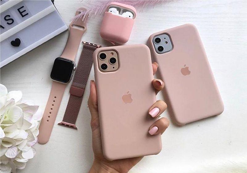 imagem de celular e acessórios na cor rosa