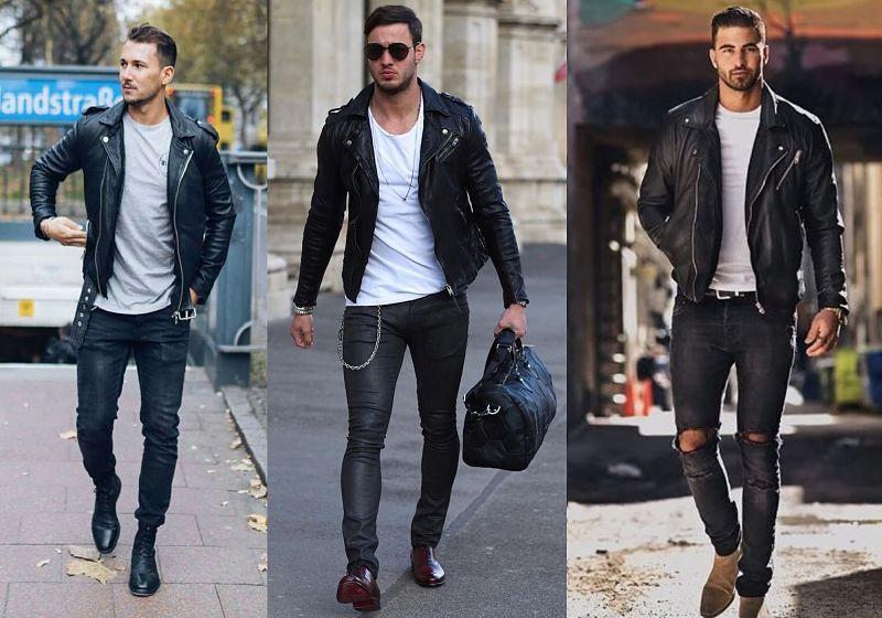 Look Jaqueta de couro e camiseta básica