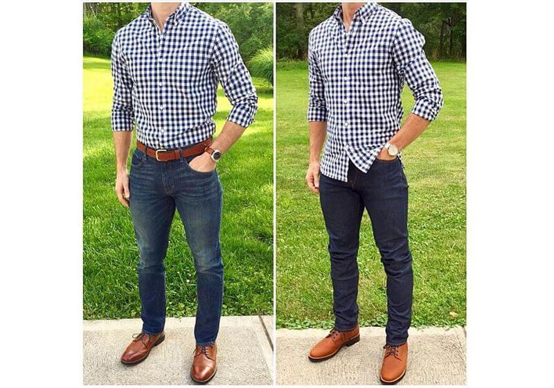 Modelo masculino com looks de camisa xadrez e jeans