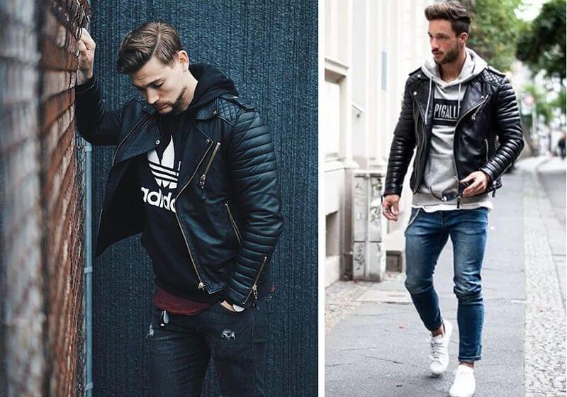montagem com dois modelos masculinos usando looks com jaqueta de couro