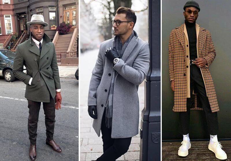 montagem com três modelos usando look com overcoat