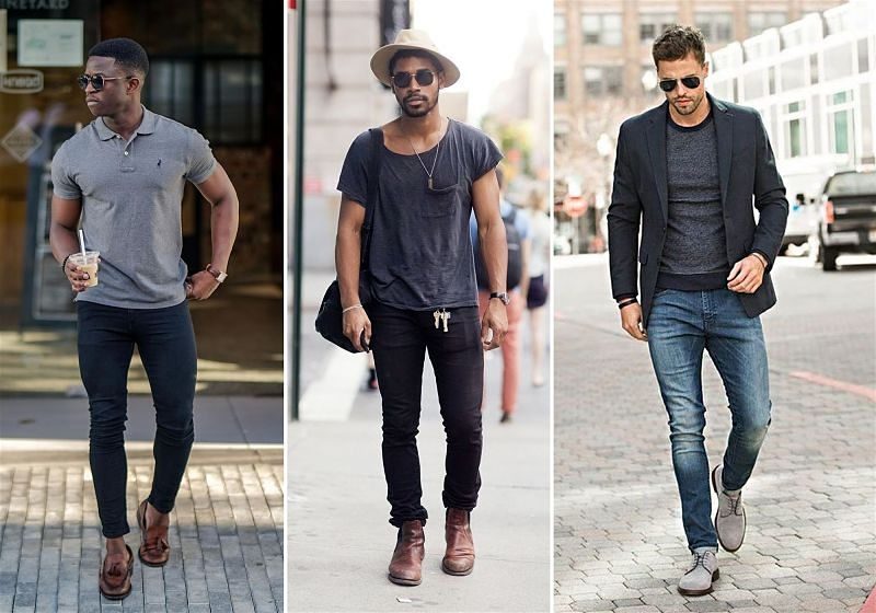 Imagem de 3 modelos masculinos usando roupas despojadas como calça jeans, camiseta e blazer