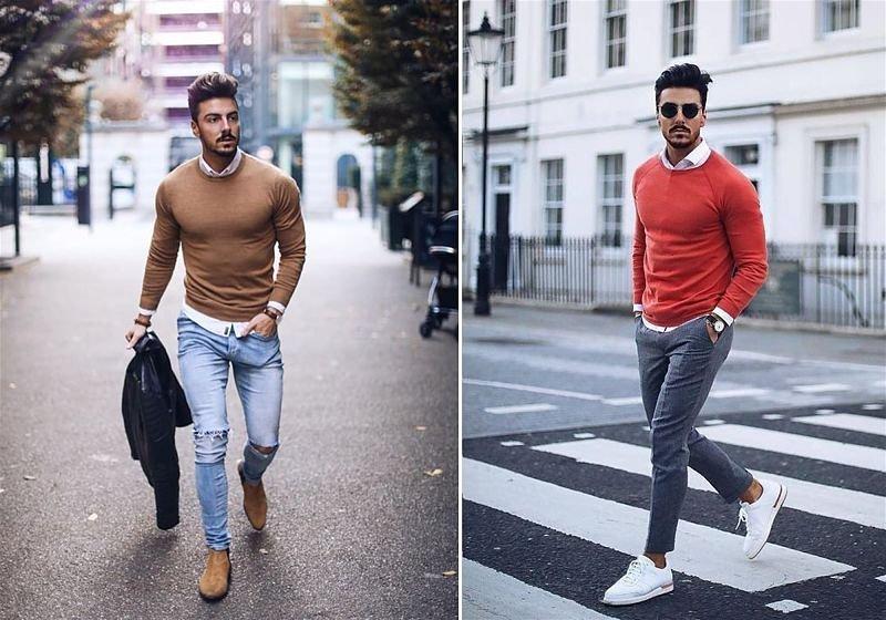 Imagem de dois modelos masculinos andando na rua usando sobreposição de suéter em camisa