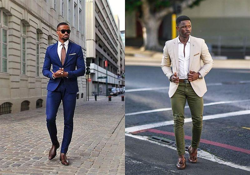 Imagem de dois modelos masculinos usando camisa social, blazer e calça