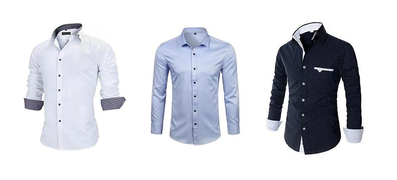 Imagem de 3 camisas sociais distintas, uma na cor branca, uma azul claro e uma azul escuro