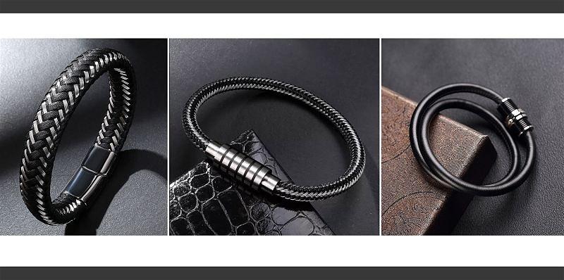 Imagem em destaque de 3 pulseiras masculinas na cor preta