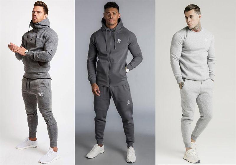 Imagem de três modelos masculinos usando roupas de moletom e calças slim