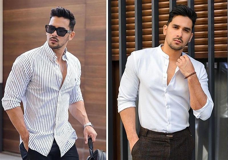 Imagem de dois modelos masculinos usando uma camisa social