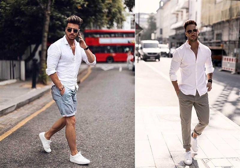 Imagem de dois modelos masculinos usando camisa social por fora da calça