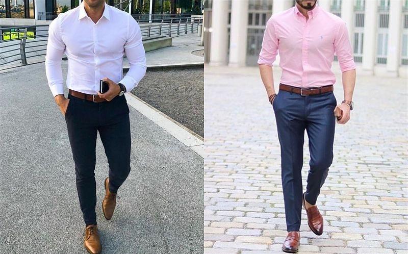 Imagem de dois modelos masculinos usando camisa e calça sociais