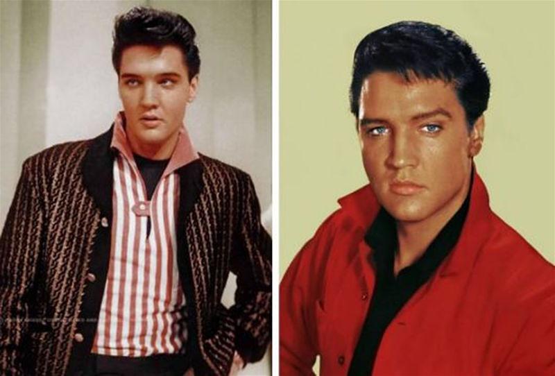 Duas imagens em destaque do cantor Elvis Presley usando roupa com estampa