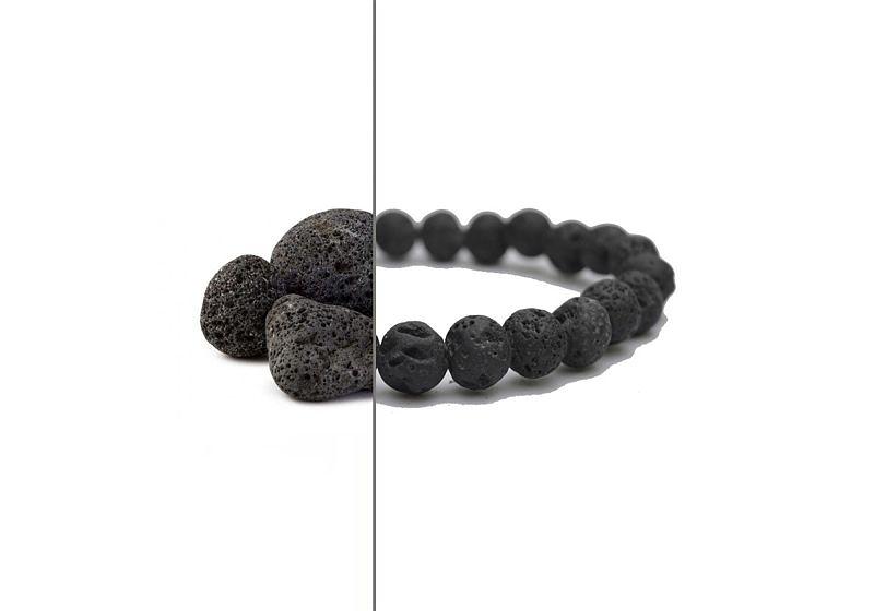 Imagem em destaque de metade pedra de lava vulcânica e metade pulseira