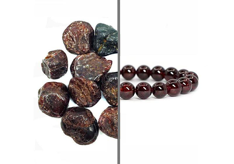 Imagem em destaque de metade pedras granada e metade pulseira