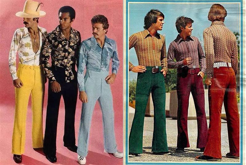 Duas imagens dos anos 60 com homens vestindo peças de roupa da época